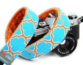 Blue and Orange Camera Strap -Blue Quatrefoil with burnt Orange Minky