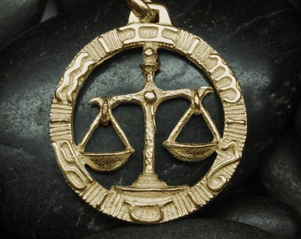Gold Libra zodiac pendant - More options available