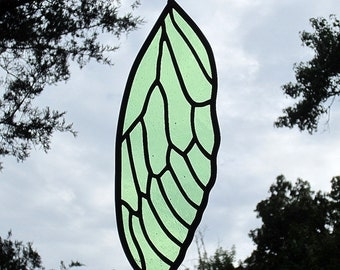 Stained Glass Cicada Wing Suncatcher Light Yellow Green