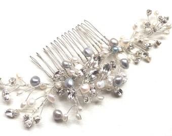 Something blue, Bridal hair accessories, bridal headpiece, handmade, freshwater pearl, swarovski crystal, bridal, vintage look comb