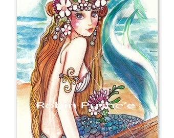 Flower Power Mermaid,Flower girl,Original Watercolor Art