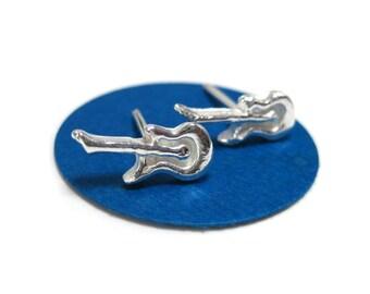 Sterling Silver Electric Guitar Earrings, Guitar Stud Earrings
