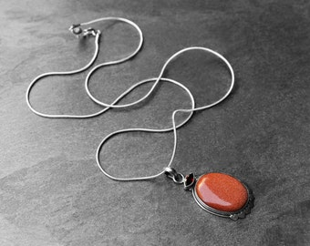 Sun Sitara Stone, Garnet Stone, Pendant Necklace, SilverSnake Chain, 925 Silver Chain, For Her, Golden Galaxy Multi Stone Pendant Necklace