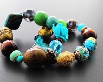 Stretch Bracelets, Beaded Bracelets, Chunky Bracelets, Bracelet Set, Turquoise, For Her, Sea Breeze Beaded Stretch Bracelet Set V4