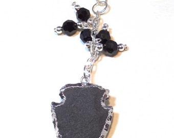 Arrowhead Necklace Sterling Silver Necklace - Black Swarovski Crystal