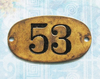 Rustic Brass Tag Number 53 Industrial Antique Vintage PO Box Painted Numbered Victorian ID Plate Jewelry Locker Basket Hardware