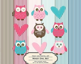 Design Set - Mindy Stripe Digital Papers and Matching Baby Owl Set