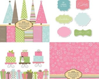 Pink Christmas Design Set - Digital Paper and Clip Art set -  Christmas Tree, Labels, Christmas Cakes Modern Christmas Xmas2