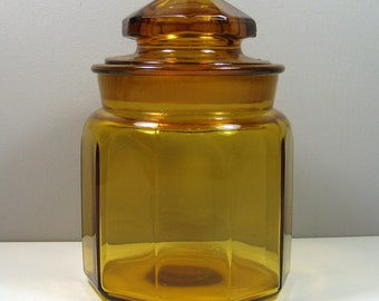 "L.E. Smith Harvest Gold Glass Panel Jar Kitchen Canister 7"" Tall"