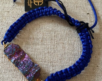 Dara Ettinger Royal Blue Macrame Friendship Bracelet with 14kt Gold plated brilliant chalcedony druzy in Disco Ball