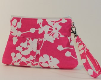Deluxe Wristlet - Large with Pleats - Amy Butler Pink Coriander