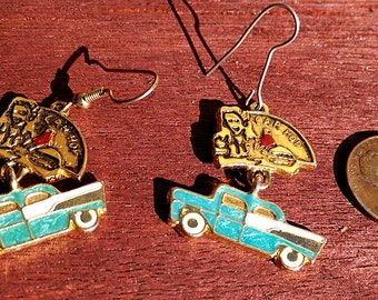 Vintage Retro Carhop 1957 Chevy Earrings
