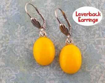 Orange Leverback Earrings, Dangle Orange Leverbacks, Silver Plated Leverback, Fused Glass Jewelry - Caralyn - 408 -5