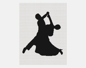 INSTANT DOWNLOAD Chella Crochet  Ballroom Dancing Dancers Silhouette Afghan Pattern Graph