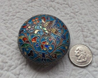 Exquisite Antique Austrian Secessionist GEORGE A. SCHEID Silver & Vitreous Enamel Hinged Pill Box