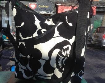 Black and White Cotton Canvas Floral Market Bag, Cross Body Shoulder Bag, Lightweight Canvas Tote Bag