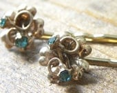 Aqua and Gold HAIRPINS - repurposed Vintage jewelry, Prom accessory, Hair Jewelry, Bridal, Beach Wedding