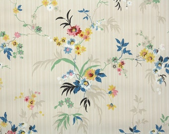 1920s Vintage Wallpaper by the Yard - Antique Floral Wallpaper Blue Yellow and Pink Wildflowers
