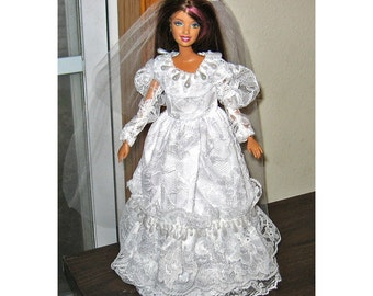 Barbie Clothes White Wedding Dress with Teardrop Pearls