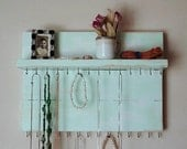 Distressed Wood Wall Jewelry Organizer Necklace Hanger with Shelf Mint Cottage Chic