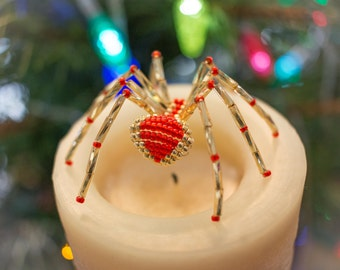 Christmas Beaded Spider Gold & Red Ornament - includes Legend of the Christmas Spider story
