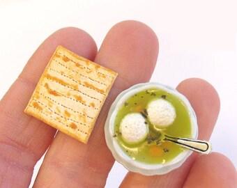 Matzah Ball Soup - Food Cuff Links - Jewish Deli Foods - Fathers Day Gift - Mens Cuff Links - Jewish Food - Matzah - Matzo - Food Jewelry