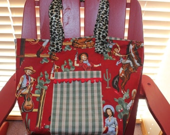 "Retro Cowgirl Market Tote Bag Featuring Alexander Henry ""From the Hip"" Fabric"