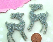 2-XL DEER PENDANT-Snowflake Laser Cut Acrylic Charms