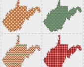 West Virginia cross stitch sampler - PDF pattern INSTANT DOWNLOAD