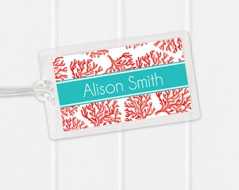 Beach Luggage Tag - vintage coral illustration - Sports Bag Tag - Diaper Bag Tag - Kids Bag Tag Luggage Tag - pick your own colors
