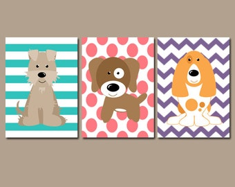 Puppy DOG Wall Art, Canvas or Prints, Baby Girl Nursery Artwork, Girl Bedroom Pictures, Set of 3 Pet Decor, Chevron Polka Dot Stripes