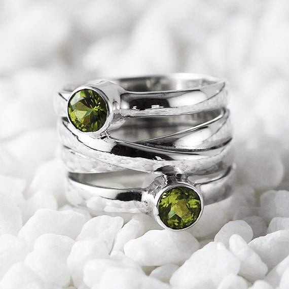 Silver Peridot Ring Custom Gemstone Womens Personalized Jewelry