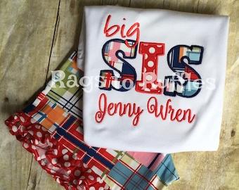 Big Sister Personalized Shirt- Big Sis Shirt- Monogrammed Big Sister Shirt
