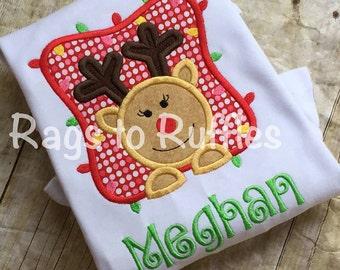Monogrammed Christmas Shirt- Reindeer Personalized Christams Shirt- Reindeer Applique Shirt