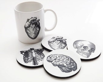 Coffee Mug and Coasters gift set Anatomy doctor male nurse graduation anatomical heart science goth biology white coat ceremony skull brain