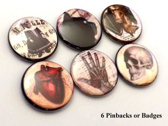Halloween PINBACKS button pins badges anatomical heart skull black cat spider scary goth horror flair party favor magnet geekery gift goth