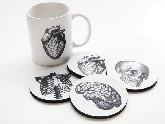Medical Student Graduation Gift Anatomy coffee mug coasters set doctor male nurse anatomical heart science goth biology white coat ceremony