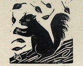 Little Squirrel-Ruchika Madan- tiny linoleum block print