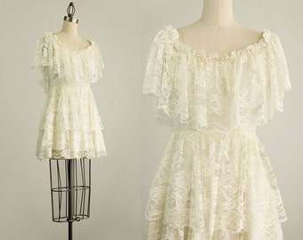 70s Vintage Ivory Chandelier Lace Mini Dress / Size Extra Small / Small