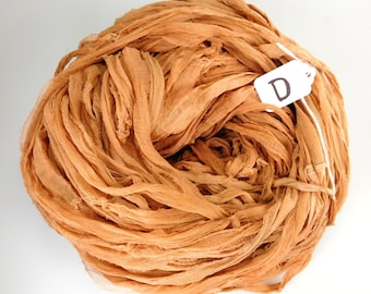 Sari silk ribbon, Silk Chiffon sari ribbon, Recycled Silk Sari Ribbon,  Rust chiffon ribbon, weaving supply, crochet supply, knitting supply