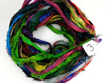 Sari Silk Ribbon, Recycled Silk Sari Ribbon, multi color Fuzzy ribbon, multicolor ribbon, washed ribbon