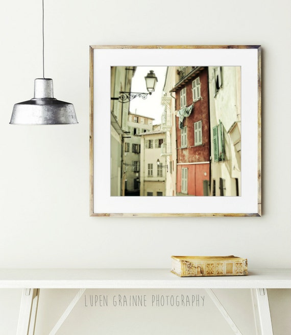 """French Street Photograph - Provence France - Travel Photography - Apartments - Wine Beige Rust - Wooden Shutters """"Dare to Be Different"""""""
