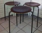 3 stacking dot stools 1950s 1960s  teak metal Arne Jacobsen mid century modern