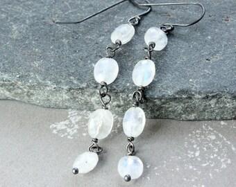 White Moonstone Earrings Oxidized Silver Gemstone Jewelry Dangle Long Earrings June Birthstone Stone Jewellery Moonstone Jewelry  For Her