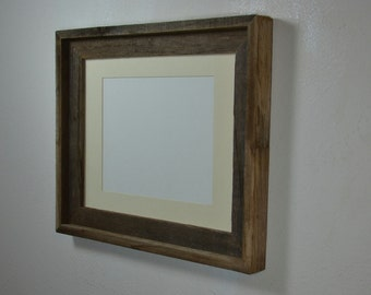 11x14 eco friendly wood picture frame with off white 8x10 mat