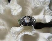 Beautiful Iridescent Moonstone and Peridot Ring Size 7.5