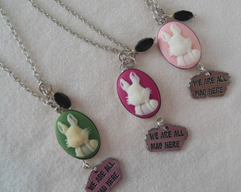 We Are All Mad Here White Rabbit Necklace