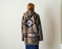 Vintage Southwestern Carpet Coat with Fringe