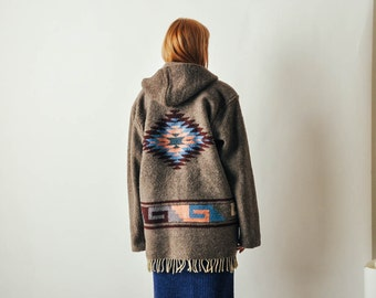 Vintage Southwestern Carpet Coat with Fringe