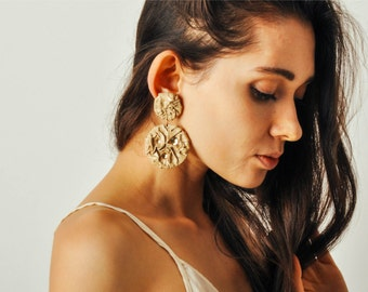 Vintage Ruched Leather Drop Earrings